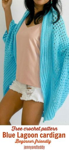 Blue lagoon crochet blanket cardigan easy for beginner mostly use double crochet made with cotton yarn great for spring time free crochet pattern by jennyandteddy. With lots of photo tutorial to help along.
