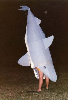 Shark Halloween costume made from painted cardboard boxes. Awesome!