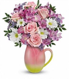 Spring Tulip Pitcher presents beautiful spring flowers in a darling pitcher keepsake for the kitchen. Light pink roses, purple alstromeria and white daisies make it up right for Spring! Spring Flower Bouquet, Spring Flowers, Spring Colors, Bouquet Flowers, Wedding Flowers, Easter Flower Arrangements, Hot Pink Roses, Online Florist, Fresh Flower Delivery