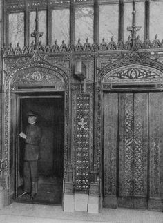 An elevator man waits for passengers in 1917. (Photo by Museum of Science and Industry, Chicago/Getty Images)