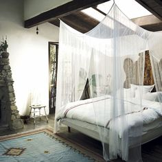 bedroom  love this I have always wanted a canopy bed and this one has a skylight over it.