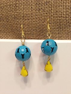 handmade beaded earrings/ bright blue and yellow dangle earrings on Etsy, $12.95