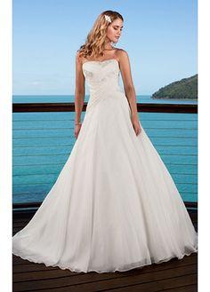 Elegant A-line Strapless Chiffon Strapless Wedding Dress For Your Beach Wedding
