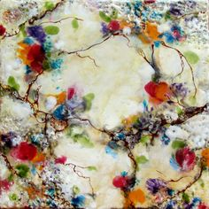 Original Encaustic Painting Abstract Floral - Spring Flowers - Encaustic Art - KLynnsArt