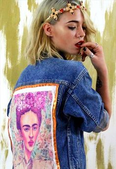 Frida Kahlo Vintage Customised Denim Jacket