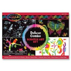 Melissa and Doug - Deluxe Combo Scratch Art Set 16 Boards, 2 Stylus Tools, 3 Frames Kratz Kunst, Gadget, Scratch Art, Operation Christmas, Melissa & Doug, Free Fun, Creative Thinking, Pictures To Draw, Art Activities