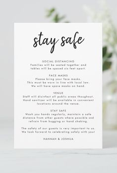 Simple, stylish wedding safety measures enclosed card in a modern minimalist design style with an elegant natural script typography in classic black and white, with an informal handwriting style font. The text can easily be personalized for a unique one of a kind design to keep guests safe during your special day, including social distancing guidelines, face masks, venue safety and a custom covid-19 coronavirus safety message for your guests. #wedding #covid19 #safety #enclosurecard… Safety Message, Handwriting Styles, Paper Texture, Hand Sanitizer, Bridesmaid Gifts, Wedding Accessories, Special Day, Wedding Ceremony, Wedding Decorations