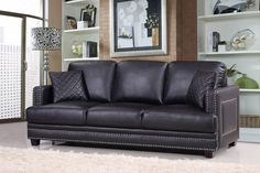Meridian Furniture USA Ferrara Nailhead Sofa Upholstery: B Nailhead Sofa, Furniture, Meridian Furniture, Sofa, Sofa Furniture, Black Living Room, Furniture Sofa Set, Black Furniture Living Room, Usa Furniture