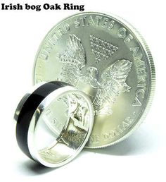 American silver eagle coin ring with Irish bog Oak wood Silver Eagle Coins, Silver Eagles, Coin Ring, Irish Traditions, Gifts For Him, Celtic, Jewelry Rings, Rings For Men, Wedding Rings