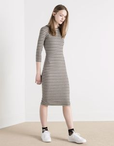 Pull&Bear - woman - dresses - mid-length striped dress with 3/4 sleeves - greyish - 05390330-V2016
