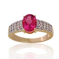 Pink Tourmaline, Diamond Gold Ring
