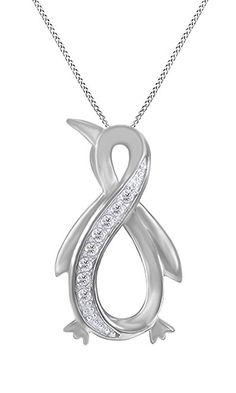 White Natural Diamond Penguin Infinity Pendant Necklace 14k White Gold Over Sterling Silver (1/10 Cttw)