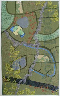 """""""Crossing Good Hope"""" by Deborah Boschert.  Neighborhood map quilt.  Twelve by Twelve art quilt group."""