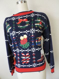 navy Christmas by cricketcapers Ugly Sweater, Ugly Christmas Sweater, Christmas Themes, Being Ugly, Bows, Pullover, Navy, Knitting, How To Wear