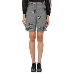 Marc Jacobs Women's Floral-Applique Shorts ($450) ❤ liked on Polyvore featuring shorts, multi, floral shorts, zipper shorts, wool shorts, marc jacobs shorts and marc jacobs