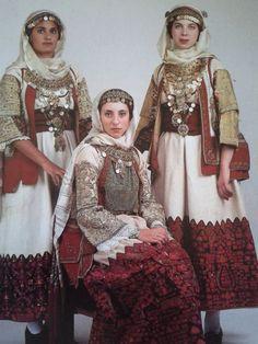 Traditional costume from Spata town, Attica, Greece Greek Traditional Dress, Traditional Fashion, Traditional Outfits, Historical Costume, Historical Clothing, Folk Fashion, Womens Fashion, Greek Culture, Greek Clothing