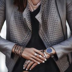 chique_and_stylish #leather #brownleather #cuir #leatherjacket #spikes #gold #goldbracelet #goldring #details #closeup #watch #goldchain #goldaccessories #lux #glam #luxury #minimalism #simple #simplicity #streetchic #chic #boho #streetstyle #streetfashion #like4like #tenuedujour #tenueoftheday #lookdujour #outfitdujour #streetwear