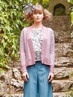 Nemuro - This ladies neat, kimono style cardigan by Marie Wallin  features in Rowan Knitting & Crochet Magazine 59. It is worked in Summerlite 4ply and has deep garter stitch borders and all over colourwork patterning which would make it suitable for the more experienced knitter.