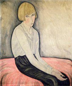 Young Woman on a Pink Canape  - Tsuguharu Foujita
