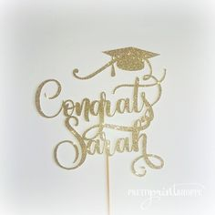 Graduation cake topper, grad cake topper, graduate decoration, prom, gold graduation topper, congrats cake topper, prom cake topper by PrettyPrintShoppe on Etsy https://www.etsy.com/listing/517901966/graduation-cake-topper-grad-cake-topper