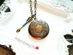 Antique Brass Bohemian Locket Necklace Brass Arrow Necklace