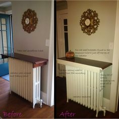 salvaged diy radiator shelf
