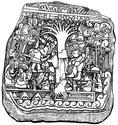 Ek-chuah-the chocolate god and tree on a stele. 1st domesticated by the Olmecs, who settled in cacao-growing areas like Chiapas, Guatemala, and the Yucatan. The tradition passed into the Mayan culture (600 BC) and later that of the Aztecs (400 AD), who ingested the cacao along with Psilocybe (enthogenic mushrooms).    In Mayan lore they credit a black man named, 'Ek-chuah' as their merchant and deity of ka'kau' – (chocolate). The black god was often depicted on incense vessels,
