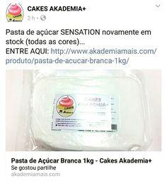 Pasta de açúcar SENSATION novamente em stock (todas as cores)... ENTRE AQUI: http://www.akademiamais.com/produto/pasta-de-acucar-branca-1kg/