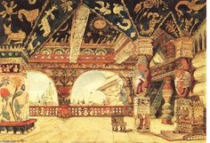 Tsar Berendey's Palace stage design for Rimsky-Korsakov's opera, Snegurochka (The Snow Maiden), by Viktor Vasnetsov.