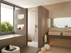 badgestaltungsideen fliesen beige dekorative muster badewanne