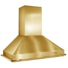 """KER22248PB 48"""" Chimney Style Wall Mount Chimney Hood With 1,000 CFM Internal Blower, 4-Speed Push Button Control, 4 Halogen Lamps, Dishwasher Safe Mesh Filters, In Brass"""