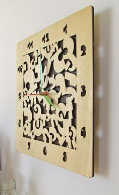 Wooden Wall Clock Laser Cut Hebrew Letters by TheWoodenTractor