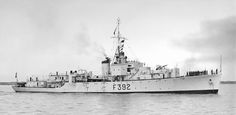 HMS Nadder(K392) a River class Frigate built by Smith Dock Co, South Bank on Tees & commissioned 20/01/44. In april '44 involved in Greek Naval Mutiny & captured corvette Apostolis. On 12/08/44 took part in sinking of U-198 near Seychelles. On 10/08/45 whilst returning from an OSS operation she  was attacked by Japanese aircraft, this was after Hiroshima & Nagasaki. transferred to Royal Indian Navy in Feb.'46 & renamed HMIS Shamser. Passed to Pakistan Navy in '47. Scrapped '59. Royal Indian, Indian Navy, Pakistan Travel, Military News, Navy Ships, Royal Navy, Wwii, Paris Skyline, River