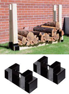 Ironton Adjustable Firewood Rack Steel Bracket Kit Outdoor Firewood Rack, Outdoor Storage, Garden Furniture Design, Decorating Your Home, Cool Stuff, Metal, Building, Easy, Kit
