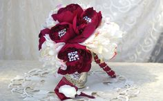 4 Piece Bridal Set Burgundy Sanria Peony Brooch Christmas Bouquet and Boutonniere Set