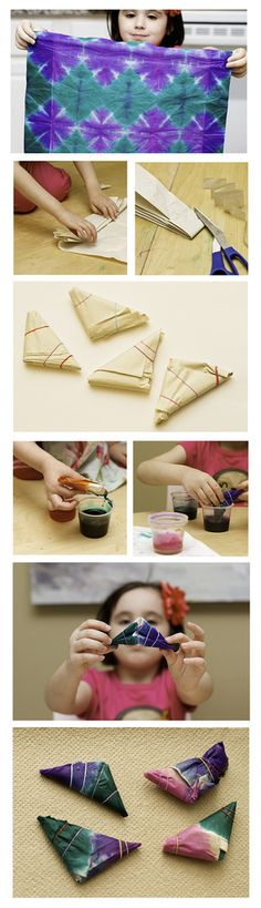 how to tie dye tissue paper....great way to test out patterns