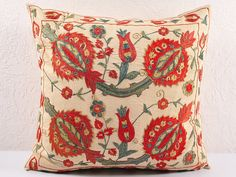 Decorative pillow cover - throw pillow - suzani Pillow - hand embroidered MSP104-5