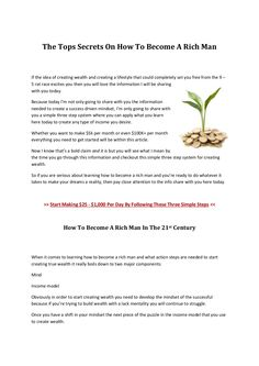"""The Top """"Not So Secret"""" Secrets On How To Become Rich..."""