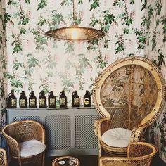 C A S T A N E A wallpaper brings the tropics inside. @hotchildstudio #artistresidence #cocktailshackbrighton #interiors #wallpaper