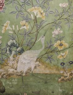 Detail of the Chinese wallpaper in the state bedroom, installed in the ©NTPL/John Hammond Hand Painted Wallpaper, Fabric Wallpaper, Wall Wallpaper, Chinoiserie Wallpaper, Chinoiserie Chic, Antique Wallpaper, Oriental, Chinese Wallpaper, Beautiful Wall