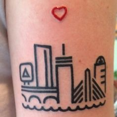 I like the concept of this simple, lined, skyline tattoo of #Boston.