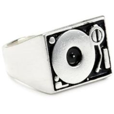 """HAN CHOLO \""""Shadow Series\"""" Men\'s Silver Plated Brass Turntable Silver Rings"""