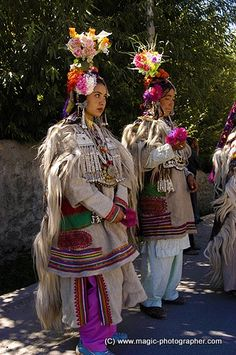 Women Dard or Brokpa tribe from Dha Hanu Village in color clothes and flowers Ladakh Kashmir Indi