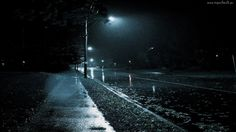 Noc, Ulica, Latarnia, Deszcz