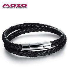 86612a823 2016 new Hot fashion jewelry men's bracelets genuine leather Stainless  steel Black Bracelet man Vintage creative