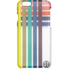 Tory Burch Striped Clear i Phone 6 Case ($65) ❤ liked on Polyvore featuring accessories, tech accessories, multi colors, tory burch and tory burch tech accessories