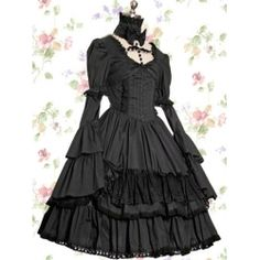 Bell Sleeves Black Gothic Lolita Dress