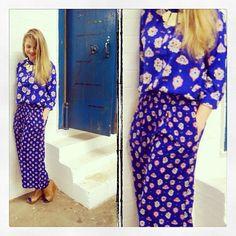 Instagram user @Natalie Blondin DesBois wears the Uniqlo x Celia Birtwell Romanian print shirt and pyjama pants #UniqloCeliaB