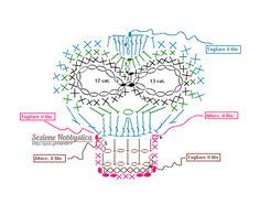 Crochet Diagram, Crochet Chart, Love Crochet, Crochet Motif, Crochet Flowers, Crochet Stitches, Appliques Au Crochet, Crochet Skull Patterns, Crochet Decoration
