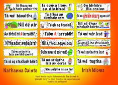 Spraoi online - all kinds of posters and charts in Irish/Gaeilge Irish Mythology, Irish Language, Class Displays, European Languages, Irish Dance, Idioms, Primary School, Phonics, Lesson Plans